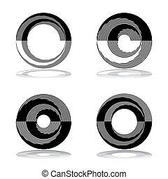 elements., icone, disegno astratto, cerchio, set.