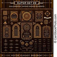 elements., ikonok, szüret, set., calligraphic, vektor, tervezés, barokk