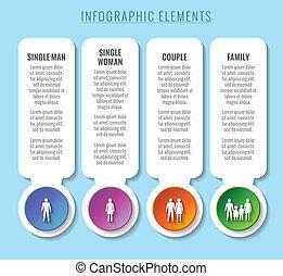 elements., infographic, concepts., 家庭, 關係