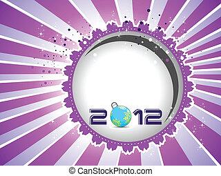 elements., köszönés, vektor, év, új, boldog, kártya, 2012