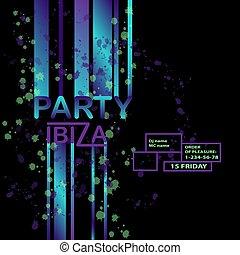 elements., kleurrijke, lijnen, tekst, abstract, moderne, neon, element, vector, ontwerp, ibiza, achtergrond, feestje, boodschap, dance., jouw, art.