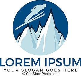 elements., klub, set., etykiety, uciekanie się, wektor, narta, logo, snowboarding, emblematy, narta, symbole, ekstremum