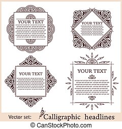 elements., marco, ilustración, calligraphic, vector, diseño