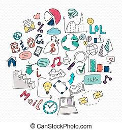elements., media, symbol, ilustracja, ręka, wektor, towarzyski, pociągnięty, znak, doodles