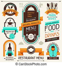 elements., menú restaurante, diseño, cintas, banderas