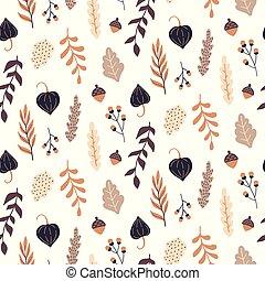 elements., modèle, seamless, automne, floral, sauvage