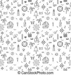 elements., modèle, seamless, icons., main, symboles, nautique, dessiné, marin