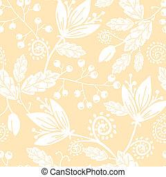 elements., modèle, seamless, jaune, main, élégant, silhouettes, vecteur, fond, floral, dessiné, fleurs blanches