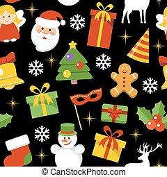 elements., motívum, seamless, év, vektor, új, karácsony