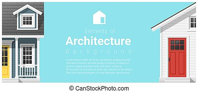 Elements of architecture background with a small house 20