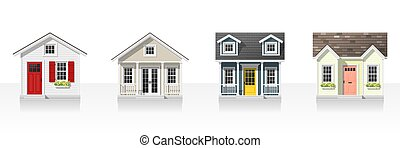 Elements of architecture with small houses isolated on white background