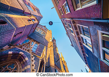 Elements of authentic Dutch architecture, wide angle shot in...