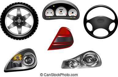 Elements of car - Isolated details of car for design and...
