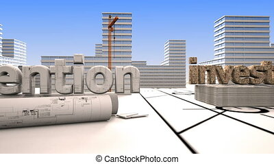 Elements of construction, Construction of a residential microdistrict in the background of a cloud time lapse, the concept of the construction industry