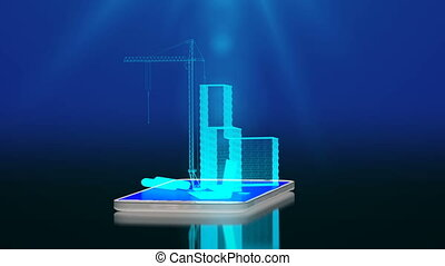 elements of construction on the smartphone display, the concept of introducing technologies into the construction industry.