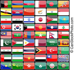 Elements of design icons flags of the countries of Asia.