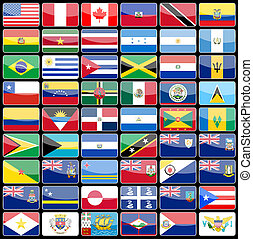 Elements of design icons flags of the continent of America....