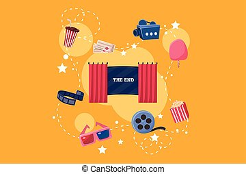 Elements of film industry set, scene, camera, ticket, ice cream, 3d glasses, popcorn vector Illustration on yelllow background