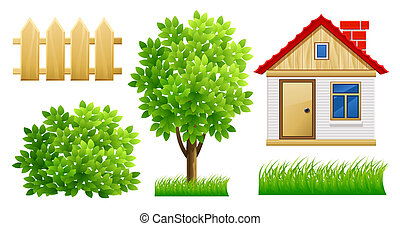 elements of green garden with house and fence - illustration, isolated on white background