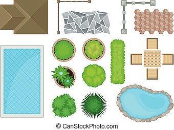 Elements of landscape design. View from above. Vector illustration on a white background.