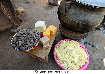 shea butter - elements of shea butter, nuts, cream and soap...