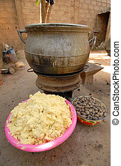 shea butter - elements of shea butter, nuts, cream