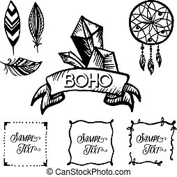 Elements of style boho hand drawing
