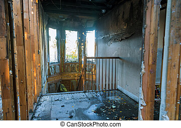 Elements of the burned wood house conflagration in Oregon US