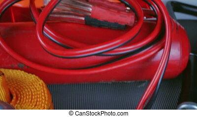 Elements of the essentials for a passenger car. Danger...