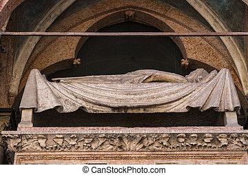 Elements of the tomb of Kangrande della Scala in Verona.