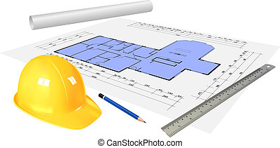 construction - elements on the construction desk