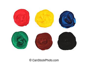 elements., pintado, foto, abstratos, primário, mão, aquarela, experiência., forma, desenho, colors., círculo
