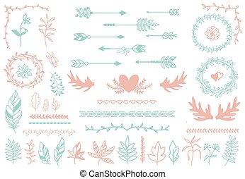 elements., plumes, tribal, flèches, boho, ethnique, frontières, diviseurs