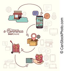 elements process e-commerce shop online on white background