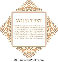elements., quadro, ilustração, calligraphic, vetorial, desenho