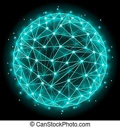 elements., résumé, wireframe, illustration, polygonal, sphère, vecteur, maille