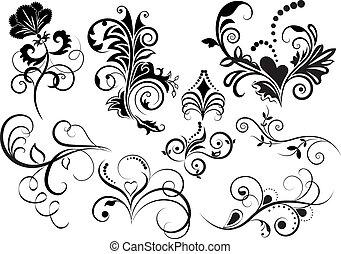 elements., sammlung, design, blumen-, schwarz, weißes