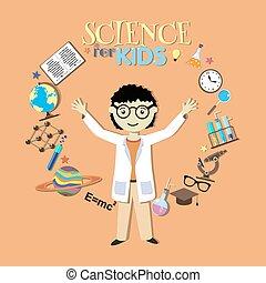 elements., scientifique, science, collection, symboles, vecteur, conception, illustration, dessin animé, kids.