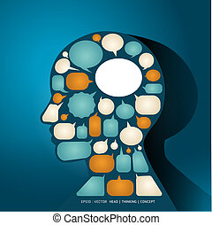 Elements speech bubbles make in man think concept / vector illustration