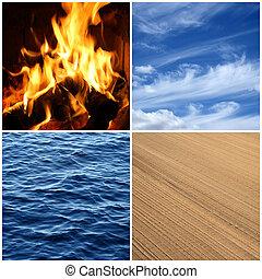 elements., stavět na odiv, oheň, čtyři, namočit, earth.