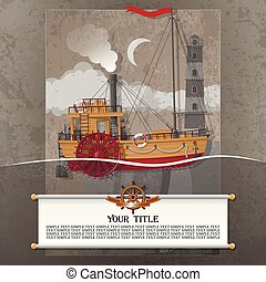 elements., steampunk, カード, 型, グランジ, 汽船