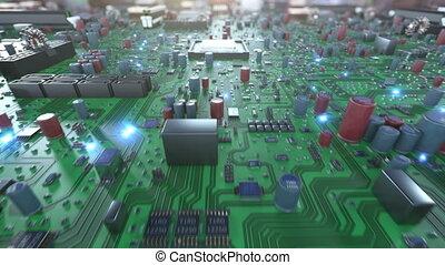 elements., sur, moderne, saut, 3840x2160., concept., voler, virtuel, animation, hd, numérique, résumé, 3d, space., en mouvement, structure, intérieur, planche, unité centrale traitement, électrons, 4k, circuit, ultra, processeur