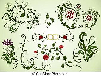 elements., swirly, vektor, design, blumen-, grün