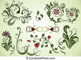 elements., swirly, vetorial, desenho, floral, verde