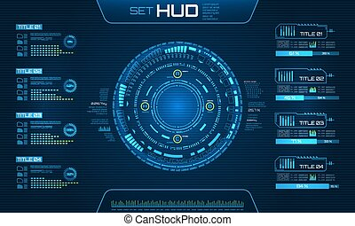 elements., ui, technologie, fond, infographic, futuriste, hud