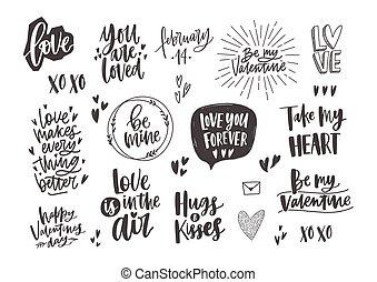 elements., valentina, citare, disegno, colori, trendy, monocromatico, vario, disegnato, bianco, vacanza, fascio, mano, auguri, decorato, giorno, letterings, illustration., frasi, s, vettore, cuori, nero