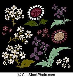 elements., vecteur, conception, décoratif, images., floral, collection