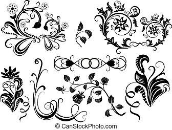 elements., vektor, design, blumen-, schwarz, weißes
