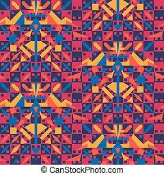 elements., vibrante, tribal, seamless, superfície, vetorial, óptico, padrão, geomã©´ricas, ilusão, design.