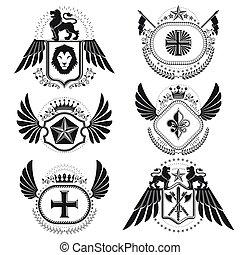 elements., vindima, heraldic, cobrança, símbolos, vetorial, sinais, style.